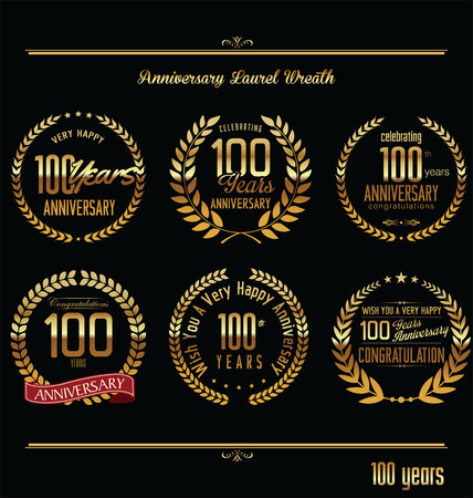 gold age: Anniversary laurel wreath retro labels, 100 years Illustration