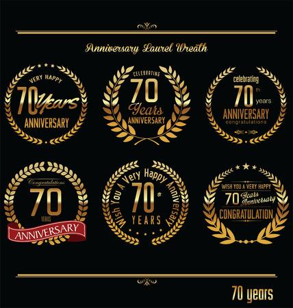 70: Anniversary laurel wreath retro labels, 70 years