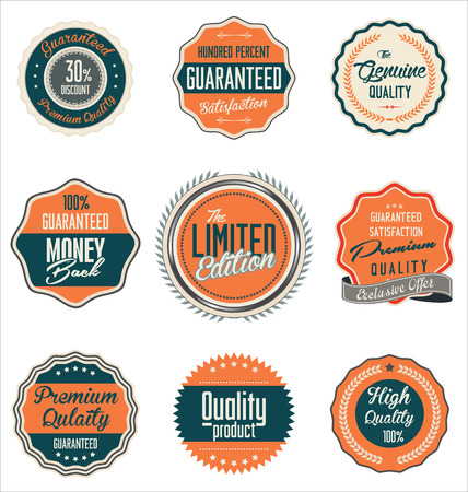 back round: Premium quality retro labels collection