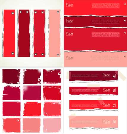 grunge banner: Red torn paper, collection