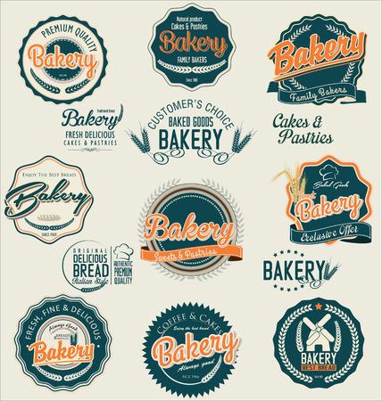 produits céréaliers: Étiquettes de boulangerie Vintage Illustration
