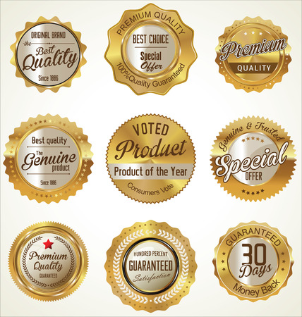 Premium quality golden labels collection Stock Illustratie