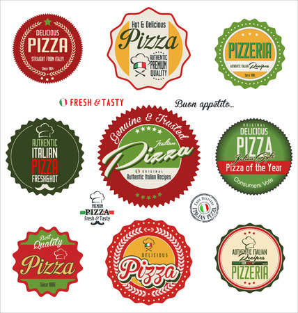 pizza delivery: Pizza retro labels