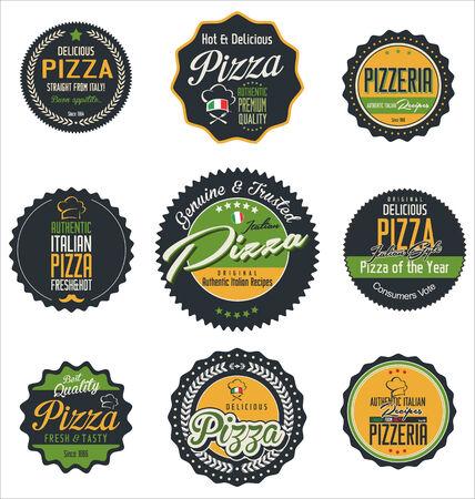 pizza box: Pizza retro labels