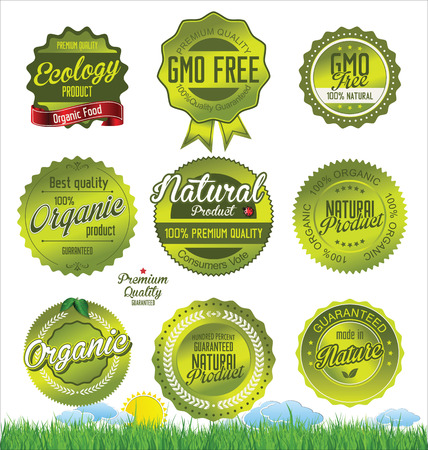an illustration promoting: Natural, organic product retro Labels