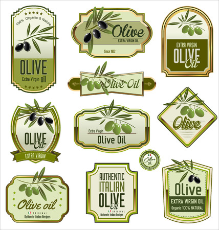Olive labels set Stock Illustratie