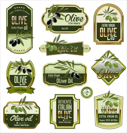 grunge shape: Olive labels set Illustration