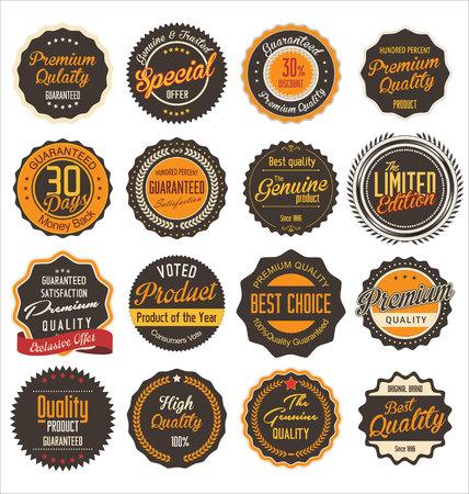 vintage badge: Premium quality retro Labels Illustration