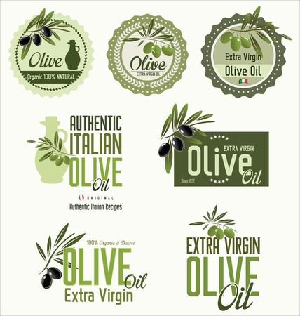 Olive green labels Vector