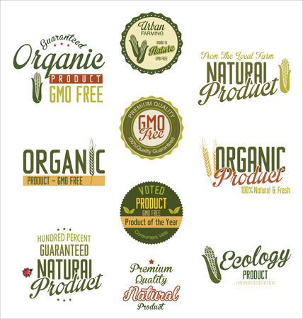 Organic natural product labels Illustration