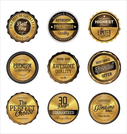 gold seal: Premium quality golden retro Labels Illustration