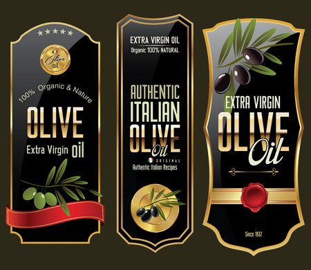 Olive gold and black banner collection Vector