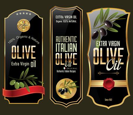 aceite de oliva: Oro de oliva y colección de pancartas negro