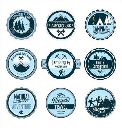 boy scouts tent: Set of outdoor adventure retro blue labels