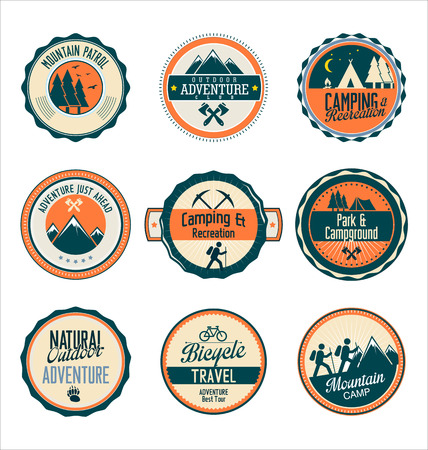 scouts: Set of outdoor adventure retro blue and orange labels