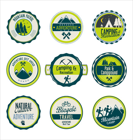 scouts: Set of outdoor adventure blue and green retro labels Illustration
