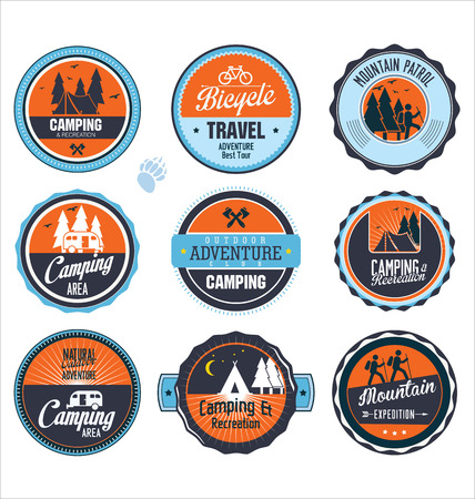 scouts: Set of outdoor adventure retro labels Illustration