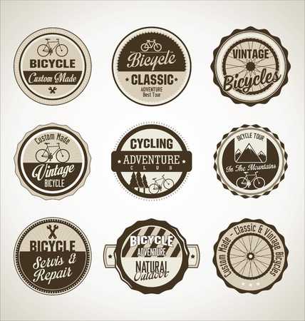 Bicycle retro brown badge collection Vector
