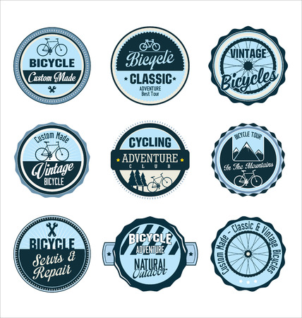 sign store: Bicycle retro blue badge collection