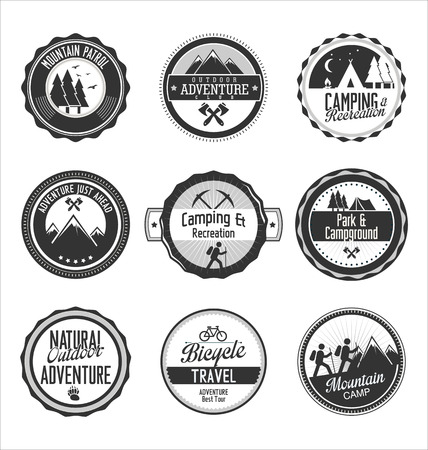 scouts: Set of outdoor adventure gray labels Illustration