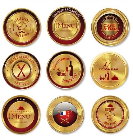 Restaurant golden labels Vector