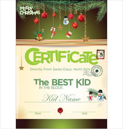 certificate frame: Kids certificate for Christmas