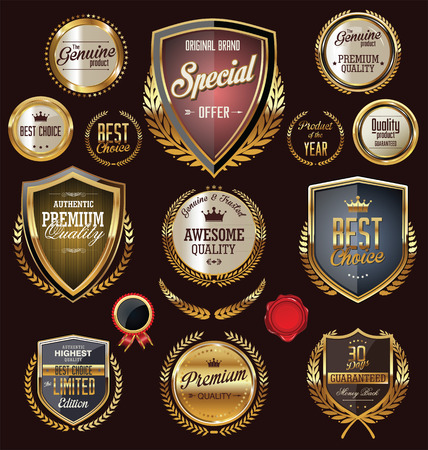 Golden shields and badges with laurel wreath, collection Vector