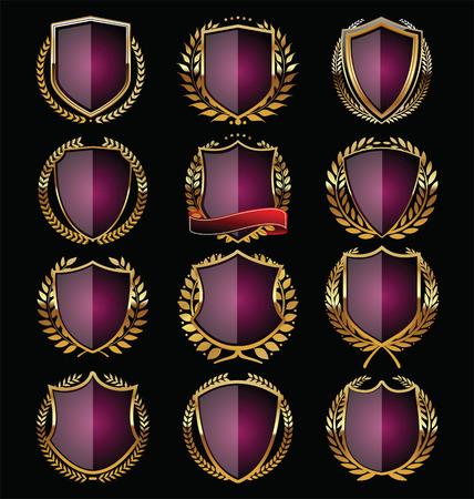 Purple and gold shield design Vector