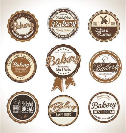bakery products: Bakery retro labels collection