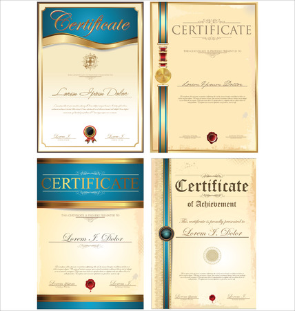 stock certificate: Certificate template collection Illustration