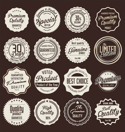 quality stamp: Premium quality labels collection