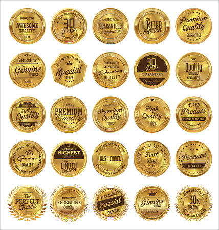 Golden labels premium quality collection Vector