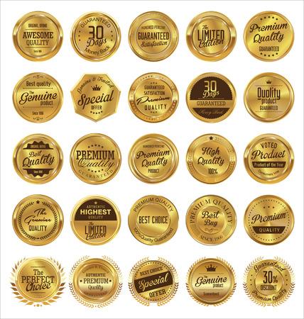 Goldene Etiketten Premium-Qualität Sammlung Illustration