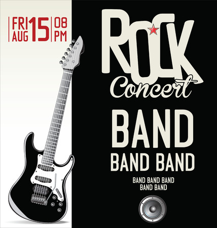 concert crowd: Rock music retro banner Illustration