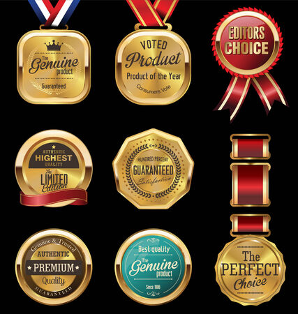 high quality: Premium quality golden labels collection Illustration