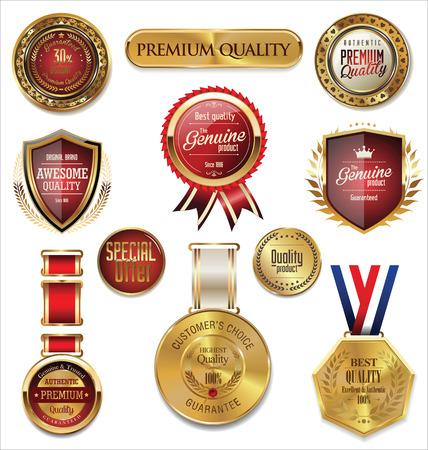 프리미엄 품질의 금색과 빨간색 메달 수집 일러스트