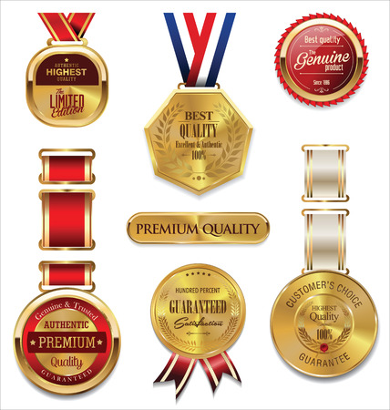 victory winner: Premium quality gold and red medal collection
