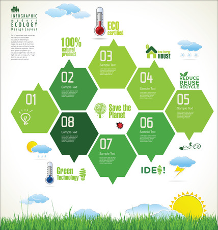 Ecology, organic, nature green banner Vector