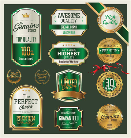 medal ribbon: Premium quality retro green labels collection Illustration