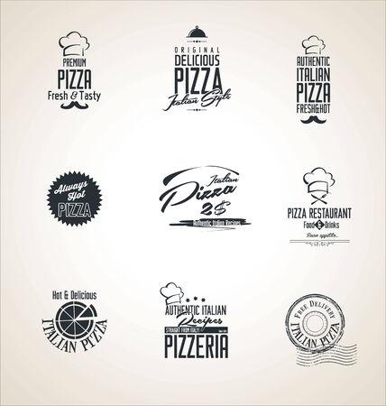 pizzeria label design: Pizza retro labels