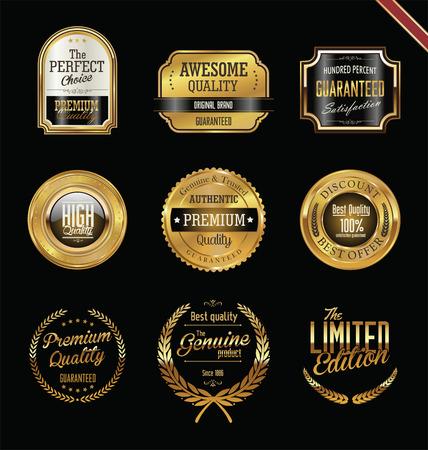Premium quality golden labels and badges Illustration