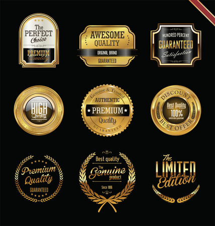 Premium quality golden labels and badges Vectores