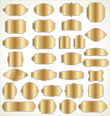 Blank golden frame and label collection Vector