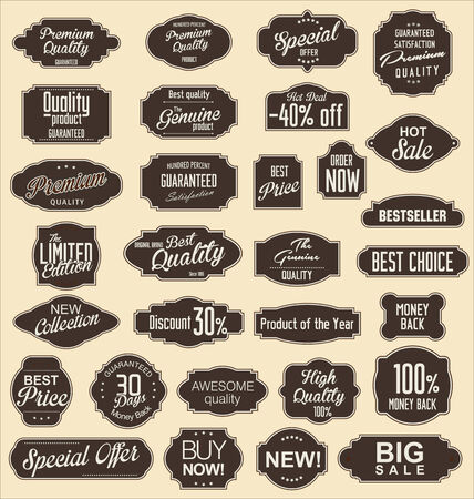 Vintage sale labels collection design elements, Premium quality Vector