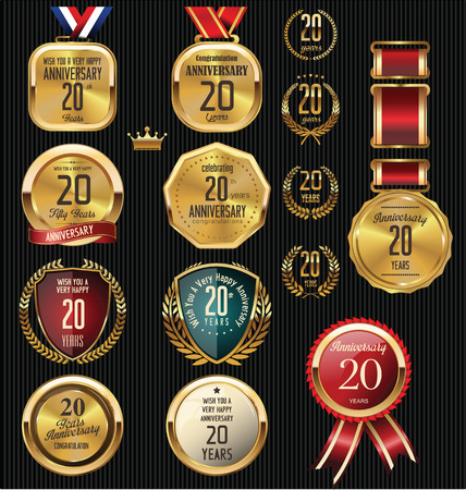 Anniversary label collection, 20 years Vector