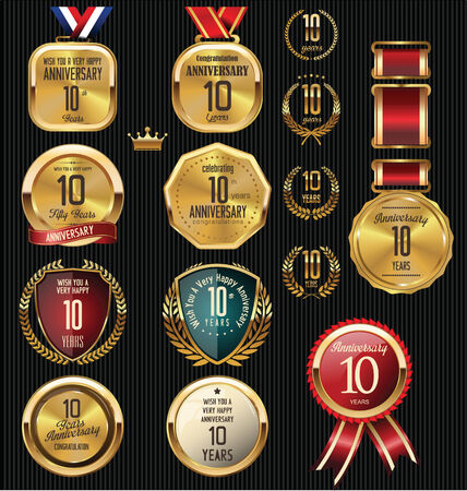 golden laurel wreath 10 years: Anniversary label collection, 10 years
