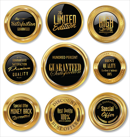 Premium quality gold and brown badges Stock Illustratie