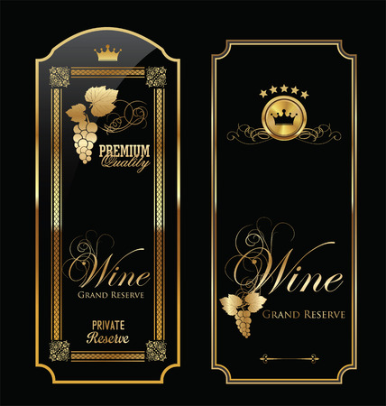 wine making: Golden wine label collection