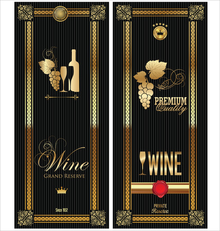 wines: Golden wine label collection