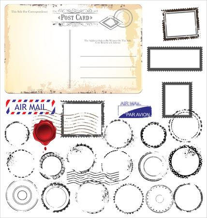 airmail: Set of post stamp symbols, vector illustration
